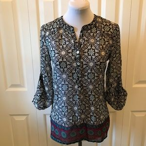 About a Girl Hi Lo Tab Sleeve Tunic Blouse Top XS